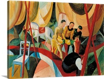 Circus, Three Acrobats Carry Dead Girl, Expressionist painting by August Macke, 1913