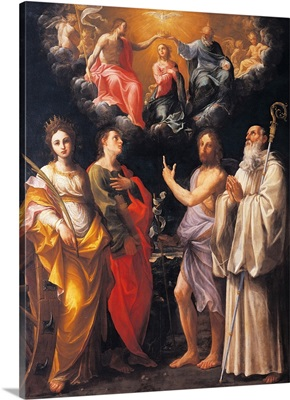 Coronation Of The Virgin With Four Saints, 1595-1596. National Gallery, Italy