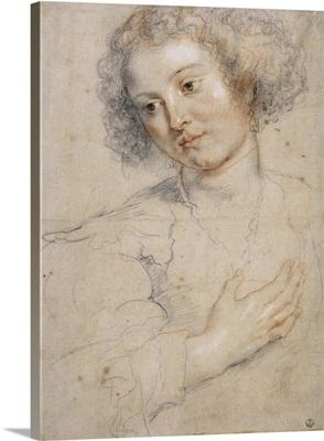Drawing Helene Fourment, Rubens 2Nd Wife, By Peter Paul Rubens, 1630