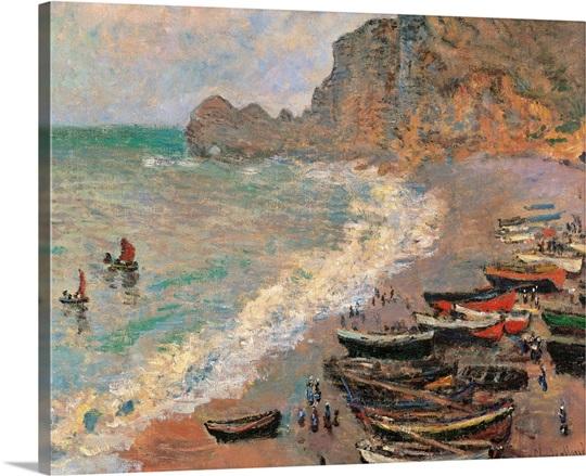 etretat the beach by claude monet 1883 musee d 39 orsay paris france wall art canvas prints. Black Bedroom Furniture Sets. Home Design Ideas
