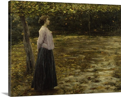 Falling Leaves, Woman Walking Alone In Autumn, By Cesare Laurenti, 1907