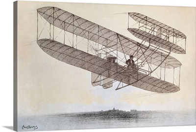 Flight carried out by one of the Wright brothers plane models