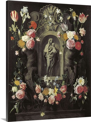 Floral Wreath with Madonna and Child by Jan Philip Van Thielen