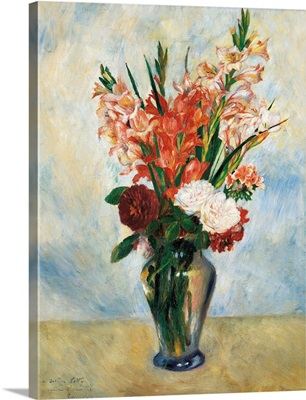 Flowers in a Vase Gladioluses, by Pierre-Auguste Renoir, ca. 1885. Musee d'Orsay, Paris