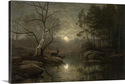 Forest Landscape in the Moonlight, 1861, Dutch oil painting