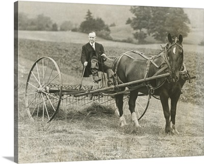 Former President Calvin Coolidge raking hay at his childhood home