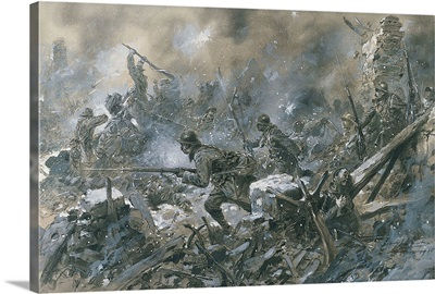French Counter-Attack at Village of Vaux near Verdun, 1916