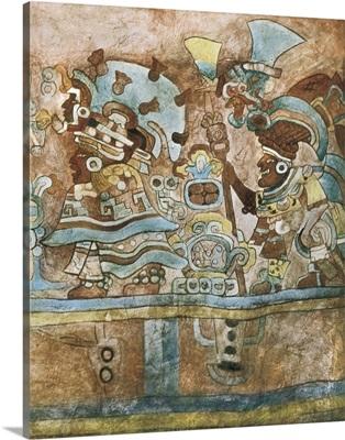 Frescos in the interior of the grave 105. Zapotec art. Monte Alban. Oaxaca, Mexico