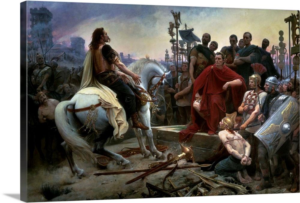 Gallic Chief Vercingetorix Throws his Sword at Feet of Julius Caesar, 46 BC