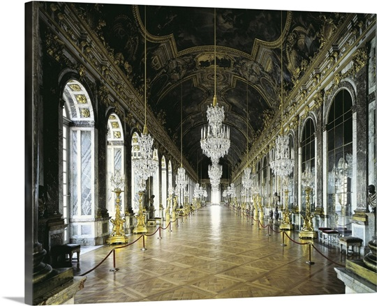 Hall Of Mirrors In The Palace Of Versailles Wall Art Canvas Prints