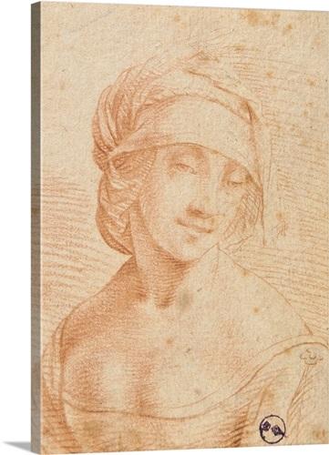 Head of a Young Woman, by school of Leonardo Da Vinci, Royal Library ...