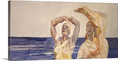 Helen of Troy and Priestess Cassandra Raise Arms Toward the Sky, 1928