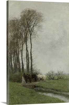 Horses at the Gate, by Anton Mauve, 1878, Dutch painting, oil on canvas