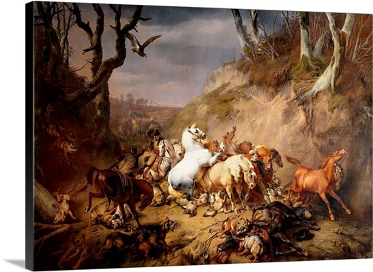 Hungry Wolves Attack a Group of Riders, 1836, Dutch oil painting ...