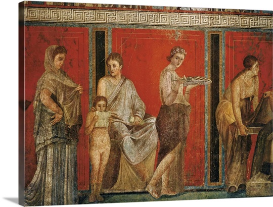 Initiation into the mysterious Dionysion cult, Roman art Wall Art ...