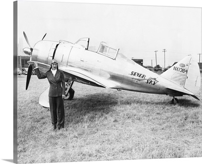 Jacqueline Cochran with her new speed plane