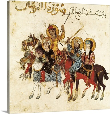 Knights in the surroundings of Cairo. Islamic art. (1237)