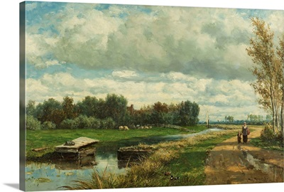 Landscape in the Environs of The Hague, c. 1870-75, Dutch oil painting