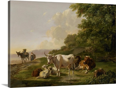 Landscape with Cattle, 1806, Dutch painting, oil on panel