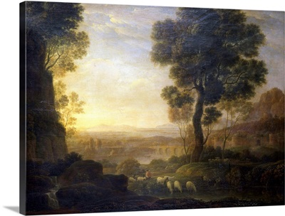 Landscape With Flock Of Sheep At The River. By School Of Claude Lorrain, 17th C.