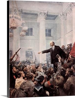 Lenin Proclaims Soviet Power, October 1917. 1947 by Vladimir Aleksandrovich Serov