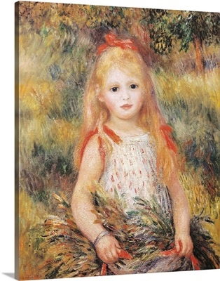 Little Girl Carrying Flowers. 1888. By Pierre-Auguste Renoir. Sao Paulo Museum, Brazil