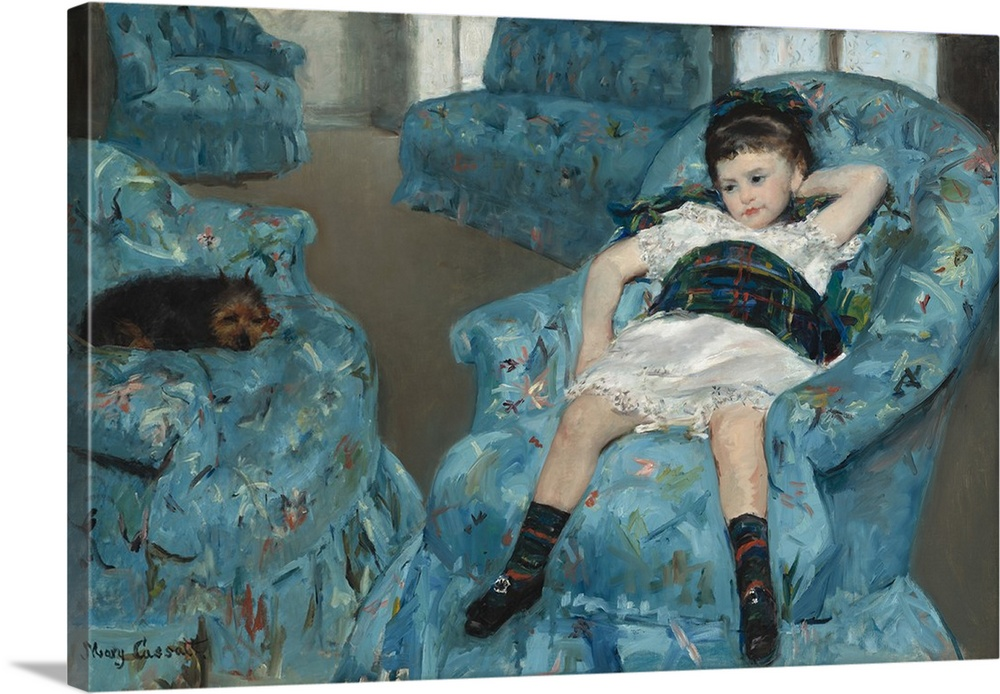 Lovely Little Girl In A Blue Armchair, By Mary Cassatt, 1878