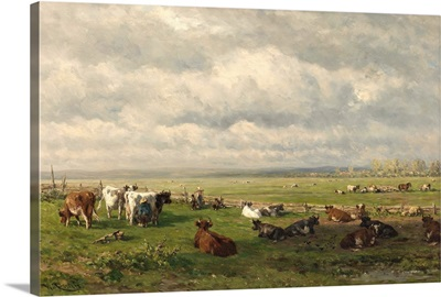 Meadow Landscape with Cattle, c. 1880, Dutch painting, oil on canvas