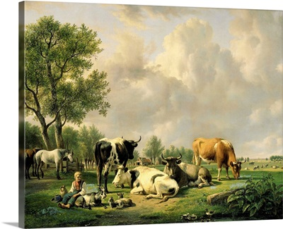 Meadow with Animals, by Jan van Ravenswaay, 1820-37, Dutch painting, oil on canvas