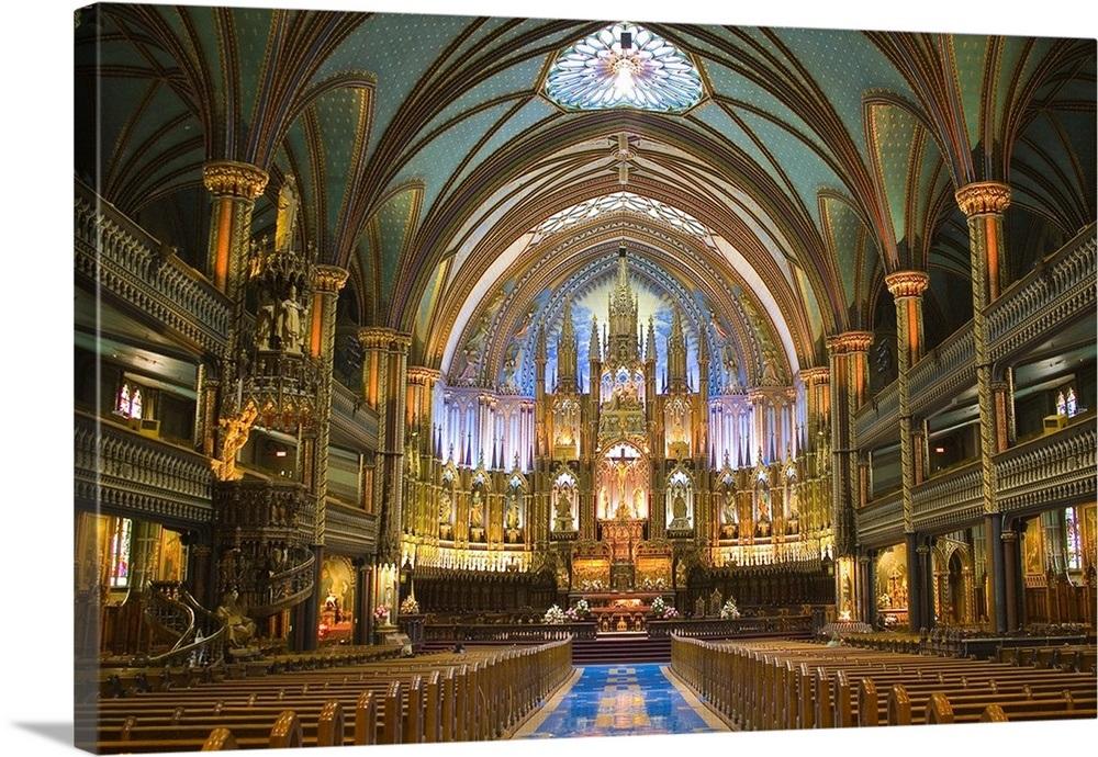 Notre-Dame Basilica Interior. Built 1824-1829. Neo-Gothic ...