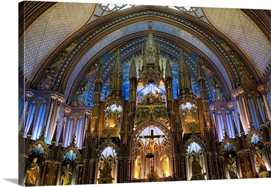 Notre Dame Basilica Interior Built 1824 1829 Neo Gothic Architecture