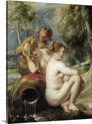 Nymphs and Satyrs. 1637. Left detail. By Peter Paul Rubens. Prado Museum, Madrid