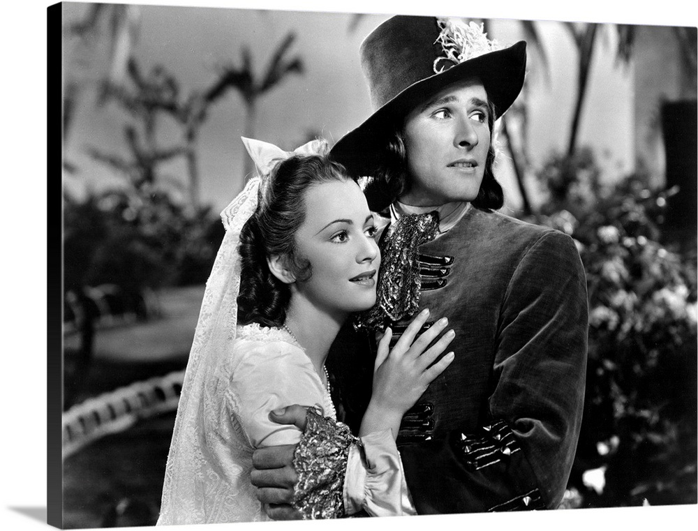 Olivia De Havilland And Errol Flynn In Captain Blood Movie Still