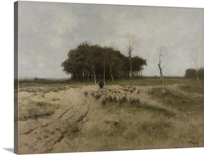On the Heath Near Laren, by Anton Mauve, 1887, Dutch painting, oil on canvas