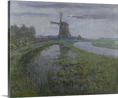 Oostzijdse Mill along the River Gein by Moonlight, by Piet Mondrian, c. 1903