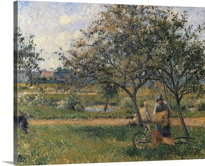 Orchard, the Wheelbarrow, by Camille Pissarro, ca. 1881. Musee d'Orsay, Paris, France