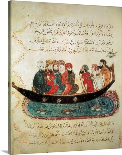 Persian ship on the Euphrates River. Persian art Wall Art, Canvas ...