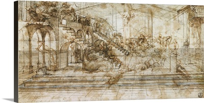 Perspective drawing for the Adoration of the Magi, by Leonardo da Vinci, 1481