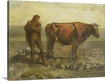 Ploughing Farmer, c. 1920-40, oil painting on panel