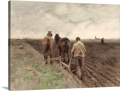 Plowing Farmer, by Anton Mauve, 1848-88, Dutch watercolor painting