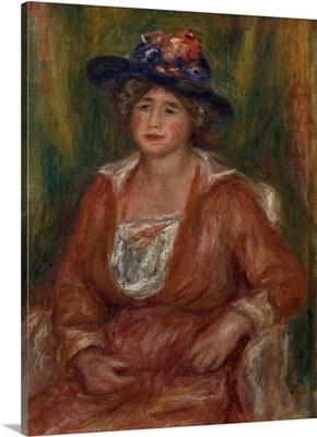 Portrait of a Sitting Woman, By French 19th century impressionist Pierre Auguste Renoir