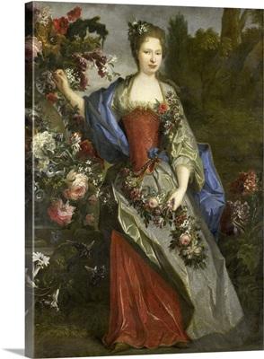 Portrait of a Woman, as Flora, by school of Nicolas de Largilliere, 1690-1740
