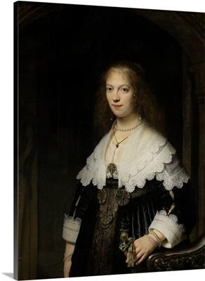 Portrait of a Woman, Possibly Maria Trip, by Rembrandt van Rijn, 1639