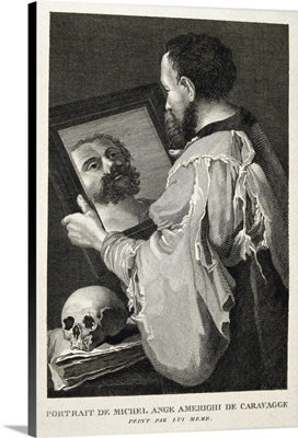 Portrait of Caravaggio Facing a Mirror, with a Book and a Skull. Engraving. Madrid