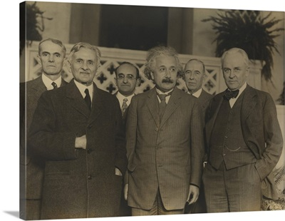 Portrait of five scientists in 1931