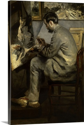 Portrait of Frederic Bazille painting The Heron in Flight, 1867
