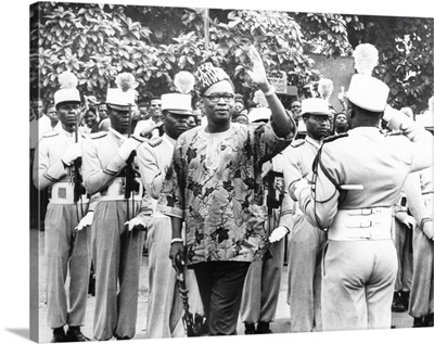 President Joseph Mobutu of the Congo before addressing the Corps of Volunteers
