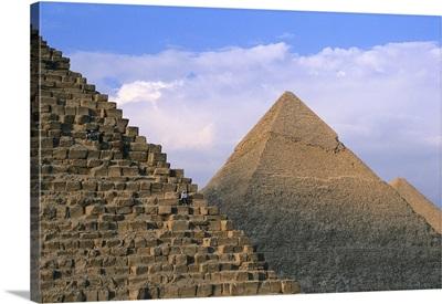 Pyramids of Khufu, Khafre and Menkaure at Giza, Egypt. 4th Dynasty. C. 2613-2498 BC