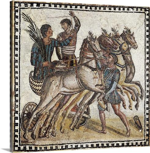 Quadriga race, early Roman mosaic Wall Art, Canvas Prints, Framed ...