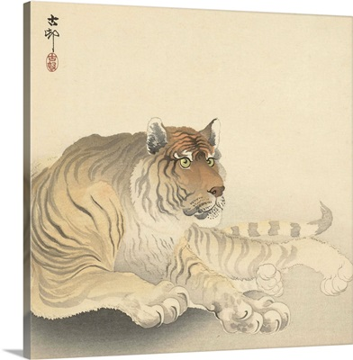 Resting Tiger, c. 1900-30, Japanese woodcut